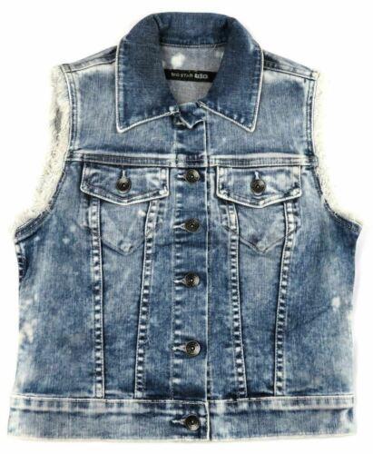 XS Big Star 1974 Junior Women's Vest Hampton Cropped Denim Medium Wash Irregular