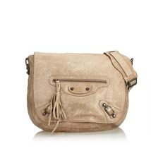 Authentic Balenciaga Brown Motocross Classic Folk Messenger Bag Italy - $494.04