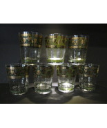 Cera Signed Golden Grapes Double Highball Glassware - Set of 7 - $70.00