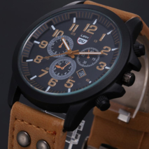 Watch Men Vintage Classic Watches Stainless Steel Waterproof Date Leather Strap  - $4.99