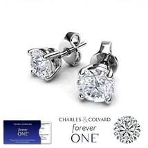 1.00 Carat Moissanite Forever One Stud Earrings in 14K Gold (Charles & Colvard)