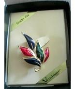 """Vintage Vendome  1.5"""" Red Blue Green Enamel Scatter Pin Brooch NOS - $19.79"""