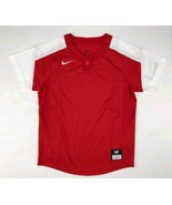 Nike One-Button Laser Jersey Youth Boy's Medium Red White Baseball - $17.99