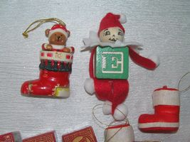 Lot of 11 Faux Wood Building Blocks Folk Art Elf Flocked Christmas Stocking  image 3