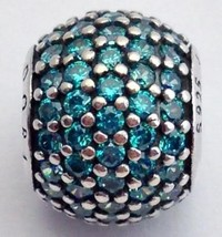 Authentique Pandora Pierre Lumineux Bleu Sarcelle Perle Boule Charme 791051MCZ - $66.49