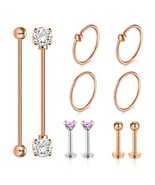 JFORYOU Rose Gold Industrial Barbell Cartilage Earrings Set 14G Surgical... - $10.25