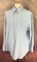 Charles Tyrwhitt Men's Button Down Long Sleeve Blue Stripe Oxford Shirt XXL  image 3