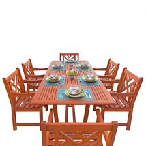 Malibu Eco-Friendly 7-Piece Wood Outdoor Dining Set with Rectangular Ext... - $1,142.08