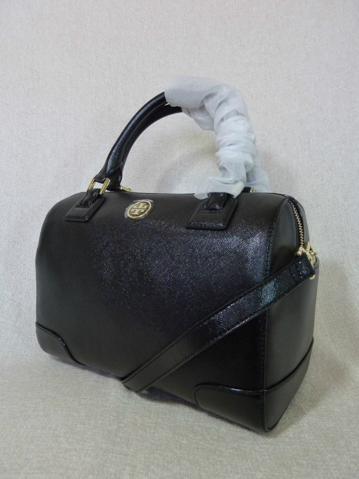 NWT Tory Burch Classic Black Saffiano Robinson Middy Satchel + Wallet $800 image 3