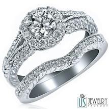 REAL ROUND CUT DIAMOND ENGAGEMENT RING SET 14K WHITE GOLD 1.24 CARAT (0.... - £2,214.19 GBP