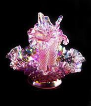 Vintage Fenton carnival glass epergne - lilac ruffle glass bowl - origin... - $295.00