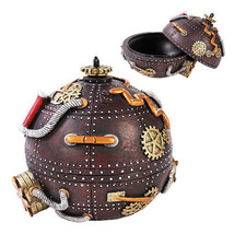 STEAMPUNK GEARWORK TIME BOMB BOX ROBOTIC VINTAGE MACHINERY JEWELRY ORB - $26.73