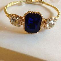 String Theory Guitar Strings Gold Bracelet w/ a Royal Blue Stone, Size 7 1/2 image 7