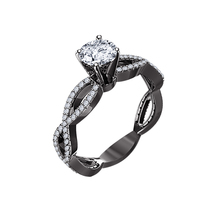 14k Black Gold Finish 925 Sterling Silver Womens Diamond Wedding Engagem... - $71.99