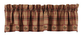 country rustic farmhouse cabin Pine Cone red brown green plaid VALANCE c... - $29.95