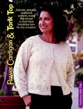 "Flower Cardigan & Tank Top Sz Adult 30""- 42"" Knitting PATTERN/INSTRUCTIONS - $1.77"