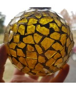 Vintage Christmas Glass Mosaic Christmas Tree Ornament Gold Colored 13 x... - $14.45