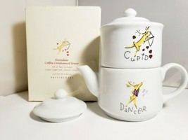 Pottery Barn Reindeer Stackable Sugar Bowl and Creamer w/ Lid - Dancer &... - $42.74