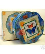 """BUTTERFLY FLOWER GIFT TIN Floral Flower Cookie Candy Box Aluminium Tin 6""""x2"""" - $4.95"""