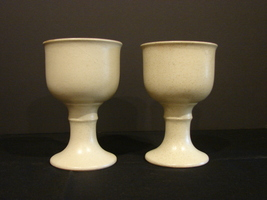 Pair of Ceramic Goblets/Chalices in Classic Medieval Design - $10.90