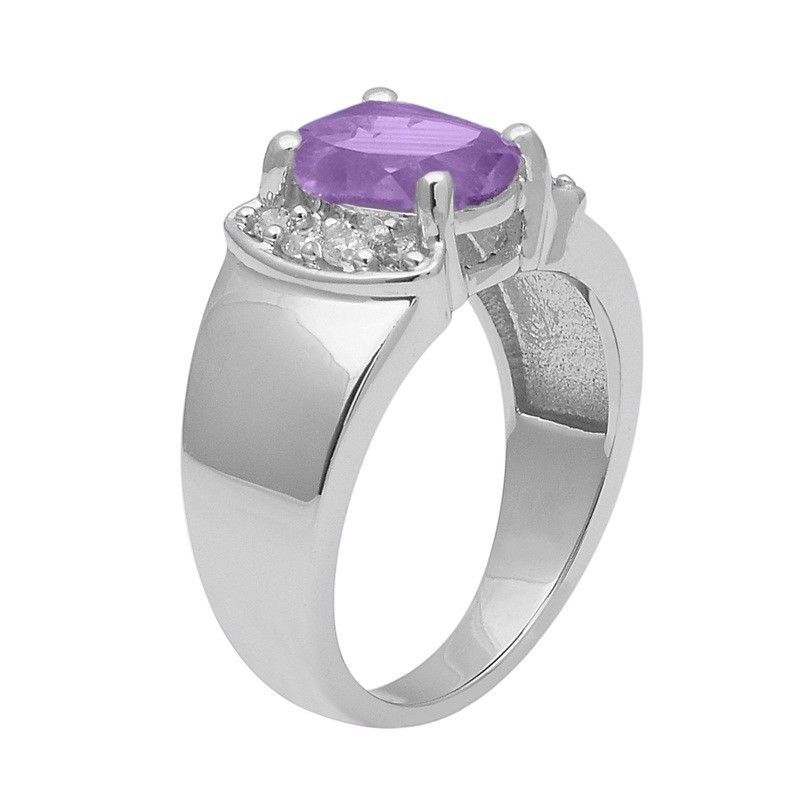 Amethyst With White Topaz 925 Sterling Silver Ring Shine Jewelry Size-7 SHRI1405