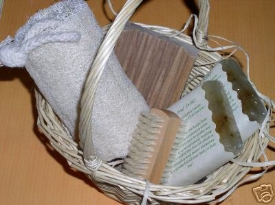 Primary image for NATURAL BATH GIFT BASKET Handmade Soap Dish Loofah Set