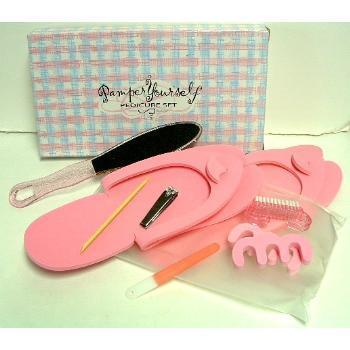 Primary image for SPA PEDICURE KIT GIFT SET Foot Nail Brush Clippers Toenail File Slippers