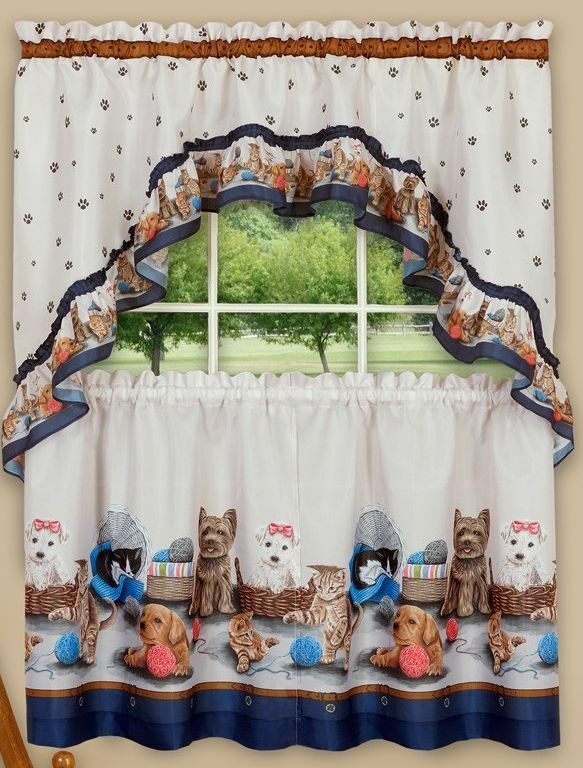 "Primary image for Kitchen Curtains Set: 2 Tiers (57""x36"") & Swag PRECIOUS PETS, CATS & DOGS, Achim"