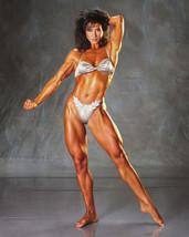 Rachel McLish sexy barefoot body builder pose in bikini 16x20 Canvas Giclee - $69.99