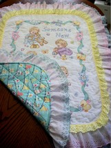 "Hand Quilted  XStitched ""SOMEONE NEW"" Baby Quilt Crib Blanket add baby's... - $179.99"