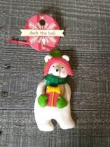 Polar Bear With Present Christmas Ornament New - $24.45