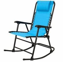 Patio Folding Rocking Chair Lawn Zero Gravity Sling Back Blue Outdoor Fu... - $74.23