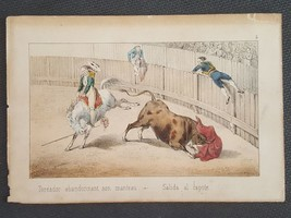 antique FRENCH BULL FIGHT handcolored ART PLATE flying matador TOREADOR ... - $42.50
