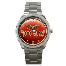 Moto Guzzi Logo Custom Sport Metal Men Watch  - $15.00