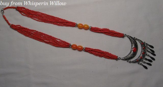 Primary image for Red Seed Bead Necklace and Pendant