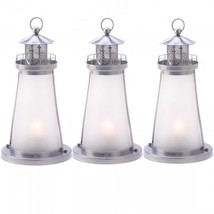 Frosted Lighthouse Lantern Candle Holder Wedding Centerpiece 3 PC Set - $21.63