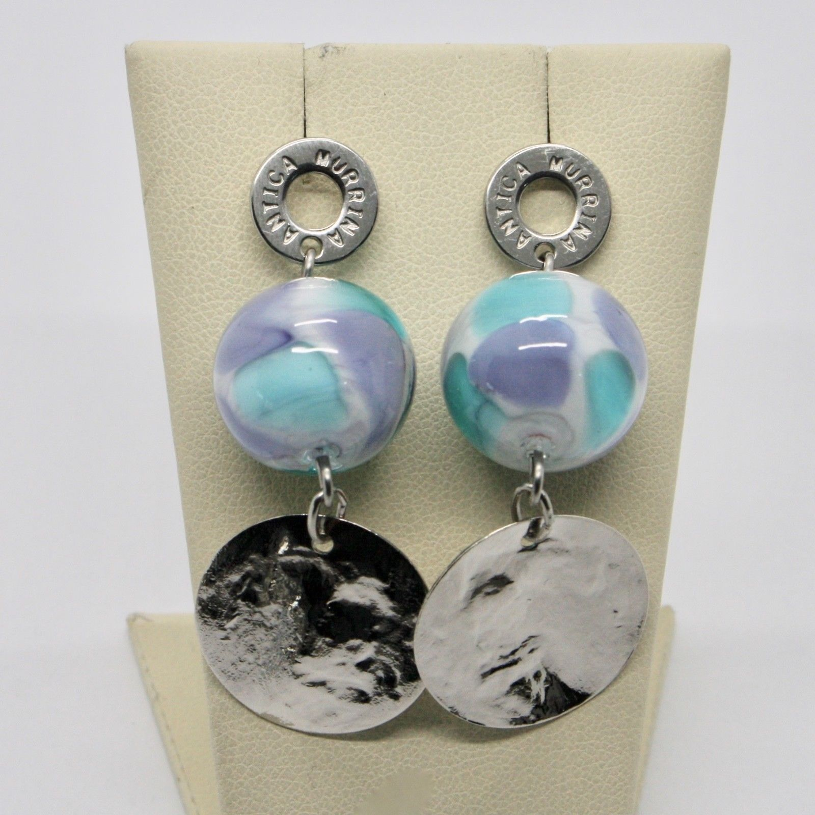 EARRINGS ANTICA MURRINA VENEZIA WITH MURANO GLASS PURPLE WHITE BLUE OR587A07