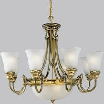 Victorian-era Details Antiqued Patina Finish Brass Chandelier Light P4110-37 - $1,153.05