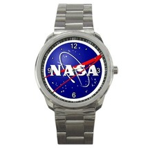 Nasa Research Logo Custom Sport Metal Men Watch  - $15.00
