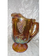 VINTAGE INDIANA GLASS CARNIVAL GLASS HARVEST GRAPE PATTERN LARGE PITCHER - $39.55