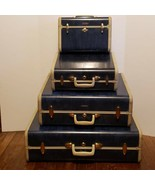 "Vintage Samsonite Luggage Admiral Blue Marble 4 Pc 26"" 21"" 15"" Train Cas... - $500.00"