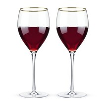 Wine Glasses Wine, Belmont Gold Rimmed Crystal Insulated Wine Glass, Set... - $31.49