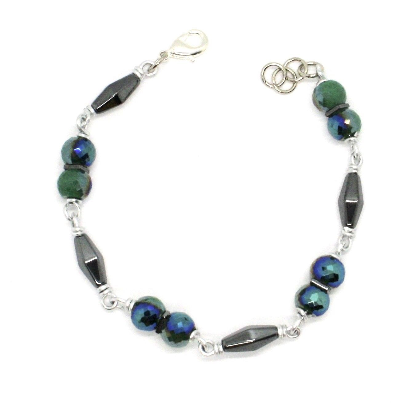BRACELET THE ALUMINIUM LONG 19 CM WITH HEMATITE AND CRYSTAL DARK GREEN