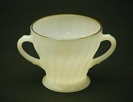 "Golden Shell by Anchor Hocking 3-3/8"" Open Sugar Bowl Milk White Scallop... - $14.84"