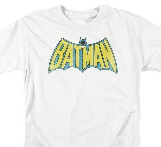 Batman Logo T-shirt SuperFriends retro 80s cartoon DC white graphic tee DCO209B
