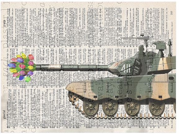 Art N Words Army Tank Flower Surprise Original Dictionary Page Pop Art Print