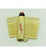 Vintage AJC Bingo Card Dobber Gold Tone Red Enamel Brooch Pin - $9.89