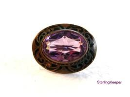Victorian Gold or Brass Tone Black Enamel Amythest Brooch - $34.99