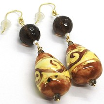 18K YELLOW GOLD EARRINGS SMOKY QUARTZ POTTERY CERAMIC DROP HAND PAINTED IN ITALY image 2