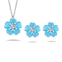 SINLEERY Charm Opal Stone Plum Flower Necklace Earrings Jewelry Sets For... - $13.94